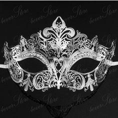 Prom Masquerade Mask - Luxury Silver Laser Cut Venetian Mardi Gras Masquerade Mask Ball
