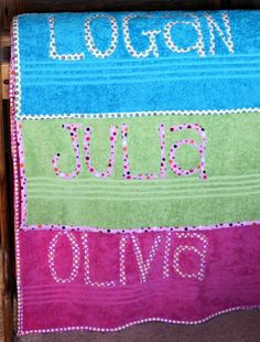 personalized towels  http://kathystitchbystitch.blogspot.com
