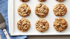 Oatmeal Raisin Cookies For the perfect winner to fill up your cookie jar bake these got-it-all oatmeal cookies loaded with raisins and nuts. Oatmeal Cookie Recipes, Oatmeal Raisin Cookies, Best Cookie Recipes, Cookie Desserts, Just Desserts, Dessert Recipes, Oatmeal Cake, Pumpkin Recipes, Baking Recipes