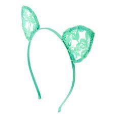 848e0038fae24 Mint Lace Cat Ears Headband Pom Pom Headband