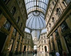 Naples Italy Shopping, Galleria Umberto Beautiful Mall with its unique interior architecture.