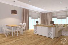 Dom w stylu klasycznym  Salon otwarty na kuchnię i jadalnię.  Progetti Architektura