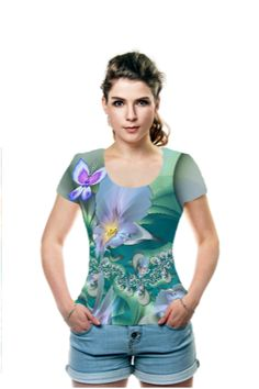 Irises and Butterflies, fractal manipulation.  Original fractals (irises and butterflies are separate fractals) by Wolfepaw (Peggi Wolfe). OArtTee specializes in creating amazing, vibrant and colorful Wearable Art.