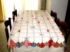 Christmas Table Cloth, Tablecloth with polka dots, Rustic Table Cloth,Red White Table Cloth,Modern Tablecloth,Great Gift For Christmas Days.