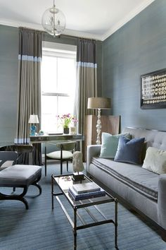 This room illustrates the beauty of  lushness that can be achieved in a chic blue monochromatic color scheme