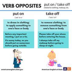 Verb Opposites: put on / take off