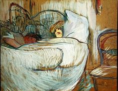 Henri De Toulouse-Lautrec | Henri de Toulouse-Lautrec - In Bed, 1894 (oil on card)