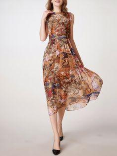Shop Midi Dresses - Elegant Graphic Sleeveless Crew Neck Gathered Midi Dress…