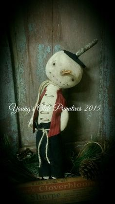 Primitive Snowman Cupboard Hanger Doll Winter Christmas #NaivePrimitive