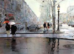 Watercolor - La pluie en abril, Paris by John Salminen - #pintura #art #artwit #fineart #paris #city #painting