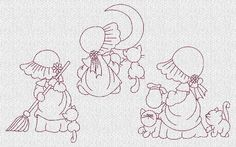 INSTANT DOWNLOAD Sunbonnet Sue and Kitties by embroiderygirl