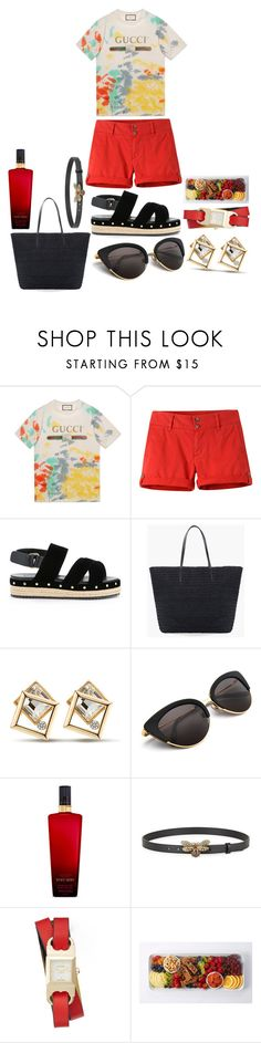 """Gucci cotton t-shirt"" by pulseofthematter ❤ liked on Polyvore featuring Gucci, Mountain Khakis, Muveil, Chico's, Victoria's Secret and Tory Burch"