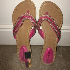 Summer sandals Pink beaded summer sandals with FREE Victoria secret sample sized perfume Breckelles Shoes Sandals