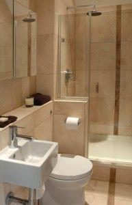 Small Bath Layout. Shower, Pony Wall And Small Sink. I Like The Shelf