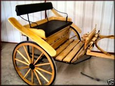 This is a brand new Cob size easy entry Meadowbrook Cart. It is built for a Cob size (around 14 to 15 hand) Horse.  This beauty  is made of Poplar (Amish style) hard wood with Hickory Shafts.