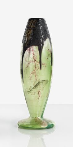 "Daum ""ALGUES ET POISSONS"" VASE with gilt mark Daum Nancy and with the Croix de Lorraine internally decorated, etched, enameled and partially gilt cameo glass"