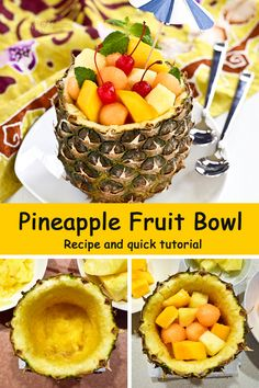 A quick tutorial on how to prepare a pineapple bowl filled with seasonal fruits as a fun summer treat. | Food to gladden the heart at RotiNRice.com #RotiNRice
