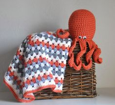 New Baby Gift Set Octopus & Granny Square Baby Blanket - Orange and Grey Nursery $75.00