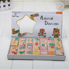 New Retail Educational Toys Wooden Toy Animal Domino Puzzles Baby Gift Free Shipping