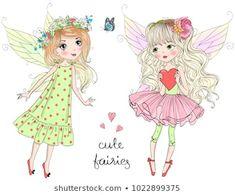 Vector de stock (libre de regalías) sobre Two Hand Drawn Beautiful Cute Little1022899375 Creative Flyer Design, Creative Flyers, Little Girl Drawing, Love My Best Friend, Romantic Girl, Doll Face, Royalty Free Photos, Kawaii, Cute Girls