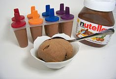 1 cup of Nutella  6 Bananas    You can add cinnamon or cocoa powder if you want but it isn't needed. Throw the two ingredients into a blender or food processor and blend till very smooth. Pour into Freezer safe container.    Reasons for Ice Cream Pops    Easy Portion Control   Practical & Freezer Friendly   It's Nutella on a stick, that's awesome