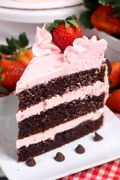 Chocolate Kahlua Cake with Strawberry Buttercream Frosting Cupcakes, Cupcake Cakes, Kahlua Cake, Strawberry Buttercream Frosting, Cake Recipes, Dessert Recipes, Cake Piping, Semi Sweet Chocolate Chips, Liqueur