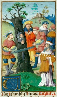 Valenciennes, Bibl. mun., ms. 0007, f. 055 (the prophet Isaiah being sawn in half inside a cedar tree).  Bible (second quarter of the 16th century?) Surely there would have been an easier way to do this.