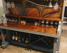 One of a kind piano bar! McPhail 1910 piano renovated into a well-built un Piano Bar, Piano Desk, Refurbished Furniture, Bar Furniture, Repurposed Furniture, Painted Furniture, Painted Pianos, Furniture Projects, Diy Home Bar