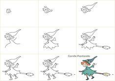 Pas à pas Sorcière 2 - Camille Piantanida Camille, Illustration, Draw, Halloween, Cards, Children, To Draw, Sketches, Illustrations