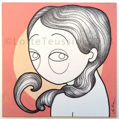 PINK GIRL original illustration by Lotte Teussink - Art  drawing fineliner pen acrylic paint - artwork pink yellow - girl long hair big eyes #painting #quirkycute