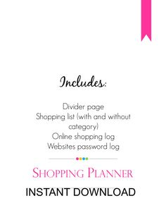 Shopping Planner Set Single PDF along with by MadeInCraftadise, $4.00