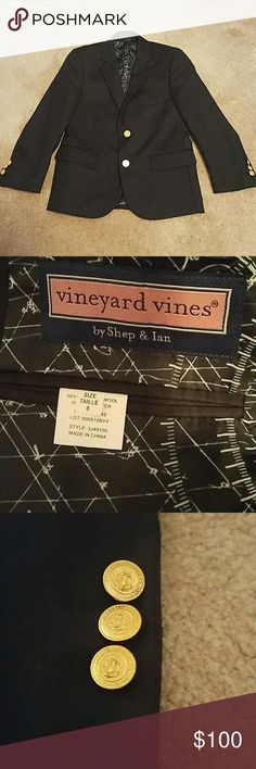 Vineyard Vines Boys blazer Worn once for about an hour! As good as new. Beautiful nautical details. Perfect for wedding season. Non smoking home. I have lots of amazing items and more to come. Happy Poshing! Vineyard Vines Jackets & Coats Blazers