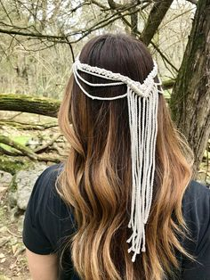 This macrame headpiece was handmade with natural white cotton rope and delicately knotted to fit snugly around the head. A unique accessory to wear for a special event, at festivals or for a boho bridal look! Measures approx. 20 circumference and 12 from the top of the back to the