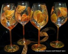 AUTUMN LEAVES set of 4 hand painted crystal 22 ounce wine glasses Dishwasher safe
