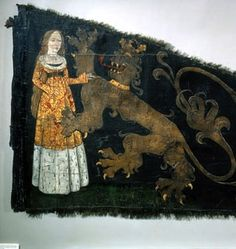 Battle standard (detail) of the Ghent civic militia emblazoned with the Maid of Ghent, attributed to Agnes vanden Bossche, ca 1482