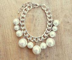 White Pearls Bracelet  - Silver Colour ♥ Ref.: P131 | Price: €6,15 | To purchase send a message to our facebook page: https://www.facebook.com/Dreamcatcher.Bijuteria.Acessorios.de.Moda