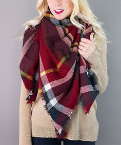 Dark Red & Midnight Plaid Scarf #zulily #zulilyfinds