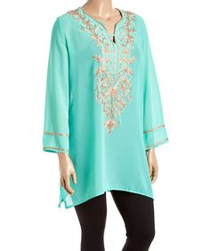Look what I found on #zulily! Seafoam & Taupe Semisheer Embroidered Tunic - Plus #zulilyfinds