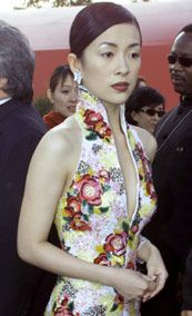 Zhang Ziyi in a modern improvised Qipao on the red carpet...