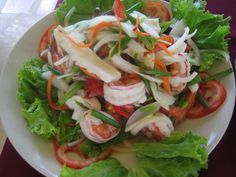 Ingredients 200 g fresh o deveined medium prawns 100 g fresh cleaned squid 50 g Scallop 100 tsp extra v. Seafood Salad, Fresh Seafood, Recipe Boards, Prawn, Thai Recipes, Caprese Salad, Fresh Rolls, Food Photo, Meals