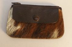 Vintage Brown & Cream cowHide & leather  Coin Purse With 2 Compartments