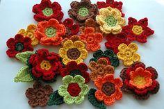 Crochet Flowers in Autumn Colours