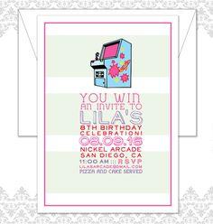 Girl Arcade Birthday Party Invitation, Girls Arcade Party, Pink Arcade Birthday Invite, Modern Arcade Invitation - Kids Birthday Invite by SpillingBeans on Etsy https://www.etsy.com/listing/291590743/girl-arcade-birthday-party-invitation