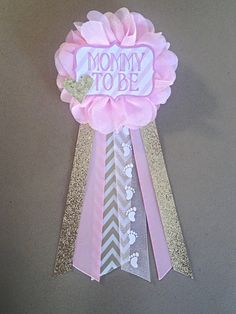 Pink and gold Baby Shower Mommy-to-be Flower Ribbon Pin Corsage Glitter Rhinestone gold glitter gold chevron mama mom mommy