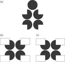 Pacman -- Optical illusion of Gaetano Kanizsa (Gestaltgesetz zur spontanen Ergänzung von gegebenen Reizmustern)