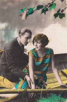 Vintage tinted love postcard