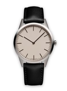 C35 two-hand watch in polished steel / with black nappa leather strap