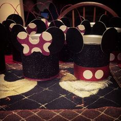 """Goodie Buckets"" made out of Formula cans :-) for my little ones 1st Birthday Party"