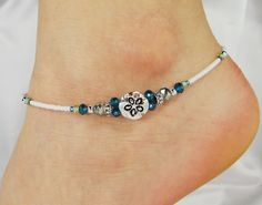 Anklet Ankle Bracelet, Sand Dollar Sea Shell Charm, Light Aqua Blue, Sea Green Beaded Anklet, Customizable, Beach Anklet, Vacation Jewelry by ABeadApartJewelry on Etsy https://www.etsy.com/listing/222241780/anklet-ankle-bracelet-sand-dollar-sea