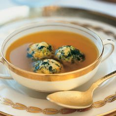 Saffron Chicken Broth with Spinach Matzo Balls recipe   Epicurious.com